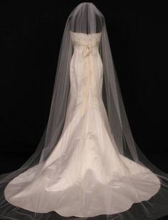 S0101XVL Diamond White Chapel Length Bridal Veil