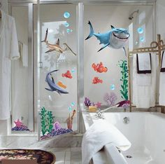 Shark Bathroom, Boys Bathroom Decor, Disney Bathroom, Bathroom Designs, Bathroom Wall, Kids Wall Decals, Wall Decal Sticker, Removable Wall Stickers, Finding Nemo