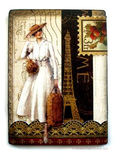 """""""Ooh, la la"""" ATC using A Ladies Diary and French Country - Nichola Battilana >> A womean wearing a look I love, and art composition that delights me, Paris where I would love to go/be taken by a man that loves me! Atc Cards, Card Tags, Paper Cards, Journal Cards, Junk Journal, Scrapbooking, Scrapbook Cards, Art Trading Cards, Artist Card"""