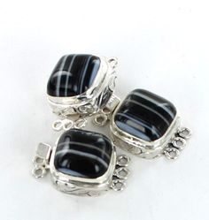 TUXEDO AGATE CLASP 3 STRAND STERLING from New World Gems
