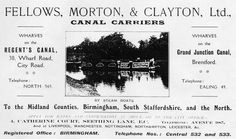"Captioned: ""FMC advert featuring Steam narrowboat EARL""  #fmc #fellows #morton #clayton #brentford #london #regents #canal #barge #advert #steam #narrowboat"