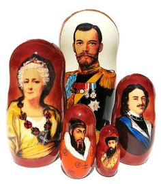 Portraits of most significant Romanov dynasty rulers including the last Czar Nicolas are hand painted on a 5 piece Russian babushka doll. Buy today.
