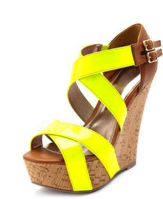 Neon Strap Faux-Cork Wedge... Love, Love, Love! Want, Want, Want!! #shoes