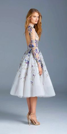Prom Dresses Long Sleeves Flower Embroidery Tea Length Party Evening Dress High Neck Vintage Short Homecoming Gowns on Storenvy