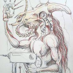 Minotaurus mit Bohrmaschine. Minotaur with drill