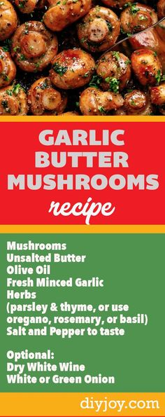 Garlic Buttler Mushrooms Recipe - How to Make Homemade Mushroom Sauce With Butter, Garlic and Wine -Easy  Side Dishes for Steaks and Dinner Ideas via @diyjoycrafts