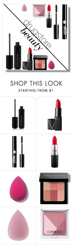 """Drugstore Beauty"" by juliannasstyles ❤ liked on Polyvore featuring beauty, Marc Jacobs, NARS Cosmetics, Charlotte Russe, MAC Cosmetics, Bobbi Brown Cosmetics and Clinique"