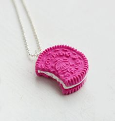 Strawberry Oreo Inspired Cookie Food Necklace Miniature Food Jewelry - Food Jewelry