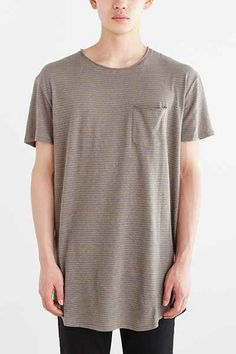 Feathers Linen Stripe Long Scoop Neck Tee - Urban Outfitters