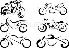 """Buy the royalty-free Stock vector """"Set of vector motorcycles on a white background. Abstract"""" online ✓ All rights included ✓ High resolution vector file. Bike Tattoos, Motorcycle Tattoos, Motorcycle Art, Bike Art, New Tattoos, Stencil Decor, Stencils, Sweat Moto, Motorbike Drawing"""