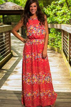 """We can feel summer right around the corner and there's nothing better than this maxi in the perfect shade of floral! The cool, light material is perfect for a warm day and the fit is truly divine! :) Features a built in slip. Fits true to size. Miranda is wearing the small. Length from shoulder to hem: S- 57"""" M- 58"""" L- 59"""""""