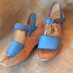 "BORN 'Maldives' Platform Sandals {Sea Blue} Brand New!  No Box. Style 'Maldives' Sea Blue/Cork Wrapped. Leather upper, Cork details, adjustable buckle, buckle closure, wedge heel, leather lining detail. Opanka hand-sewn construction.  1 1/2"" Platform, 2 1/2"" Heel. Born Shoes Sandals"