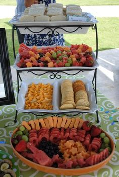 Party Food Display Inspiration  -  love the cheese stars  (could adapt this for July 4th celebrations)