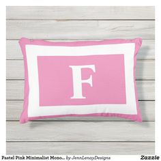 Pastel Pink Minimalist Monogram Outdoor Pillow Outdoor Throw Pillows, Accent Pillows, Bed Cushions, Monogram Initials, Artwork Design, Burnt Orange, Adulting, Gender, Age