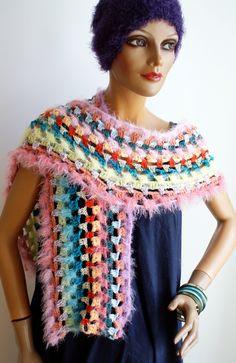 crochet scarf, cuddly soft Handmade Scarves, Shawls, Bunt, Colours, Crochet, Fashion, Ponchos, Scarf Crochet, Handarbeit