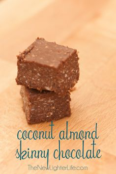 Coconut Almond Skinny Chocolate 1/2 c. coconut oil 1/4 c. unsweetened cocoa powder 3 1/2 Tbsp Xylitol, powdered 1/4 tsp salt 1 tsp almond extract 1 tsp vanilla extract 1/2 c. dried coconut, shredded and unsweetened Directions:Mix all the ingredients except the coconut in a bowl. heat gently to make stirring easier.  Pour in to a glass dish, refrigerate for a couple hours before cutting.