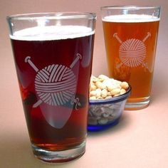 1 Etched Yarn Pint Glass - gift for knitter. $15.00, via Etsy. So many awesome pint glasses in this store!