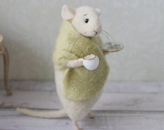 felt mouse white felted mouse miniature mouse by mousestories