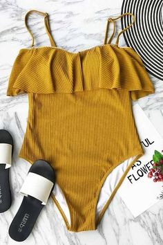 A dream vacation deserves this yellow one-piece swimsuit! Product Code: CYY1026 Details: With lining Removable padding bra Adjustable shoulder straps Regular wa #Swimsuits #swimwear