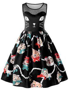 Kitten Print Sleeveless Fit and Flare Dress - BLACK XL