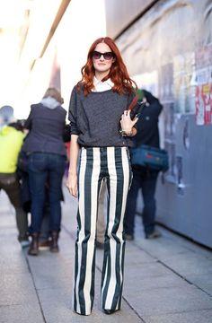 Milan Fashion Week Fall 2012 : Street Style Love the pants! Milan Fashion Week Street Style, Autumn Street Style, Street Chic, Street Girl, Look Fashion, Fashion Models, Womens Fashion, Fashion Trends, Fashion Pattern
