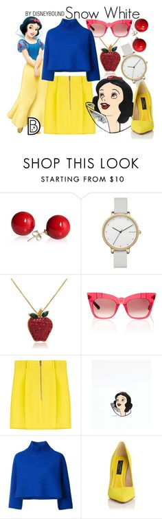 """""""Snow White"""" by leslieakay ❤ liked on Polyvore featuring Skagen, Amanda Rose Collection, Pared, Dsquared2, Vika Gazinskaya, disney, disneybound and disneycharacter"""