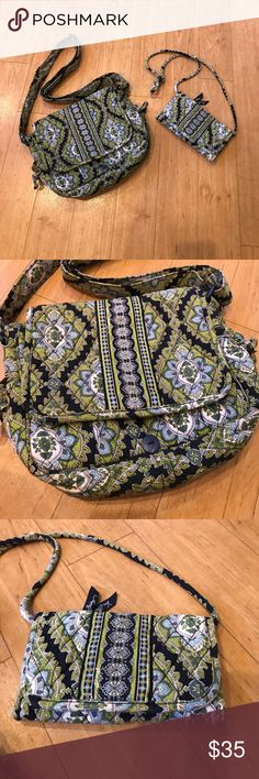 Very Bradley bundle! Large cross body, and small crossbody/ wallet set! Really great condition, missing snap on large bag, see pic #5 easy to repair. Vera Bradley Bags Crossbody Bags