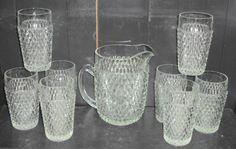 Vintage Indiana Diamond Point Glass Pitcher & 8 Ice Tea Tumblers