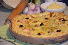 Pizza blanche aux deux saumons,une délicieuse pizza maison à base de crème fraiche au saumon frais et saumon fumé