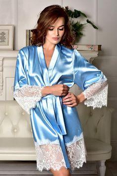 facdac4b6e Bluerobe with white lace Kimono robe Bridal robe Bridesmaid robes Satin  robe lace sleeves Plus size robe Bridal kimono Bride dressing gown
