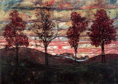 """Four trees"" (1917) By Egon Schiele, from Austria (1890 - 1918) - oil on canvas; © Österreichische Galerie Belvedere, Vienna, Austria http://www.belvedere.at/de https://www.facebook.com/belvederewien Schiele was originally influenced by the symbolism and sumptuous ornamentation of Gustav Klimt, but this enfant terrible of Vienna's avant-garde soon set out in a different direction. He died in the Spanish flu epidemic of 1918, aged only 28."