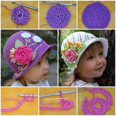 Pretty Crochet Panama Hats for your princess . FREE pattern and VIDEO . #diy #crafts #crochet #free pattern