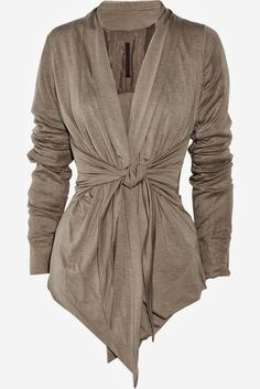 Tie-front brown jersey cardigan. Love a good cardigan.