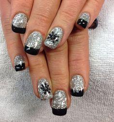 Tanya's nails. Sparkling snowflake gel nail art.