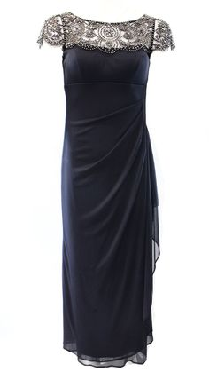 Xscape NEW Charcoal Gray Embellished Women's 10 Ruched Sheath Dress $209