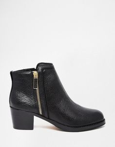 Ted Baker | Ted Baker Jylon Leather Mid Heeled Zip Ankle Boots at ASOS