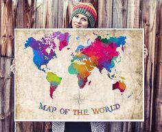 WATERCOLOR MAP - World Map Watercolor Painting. Watercolor poster. Handmade poster.