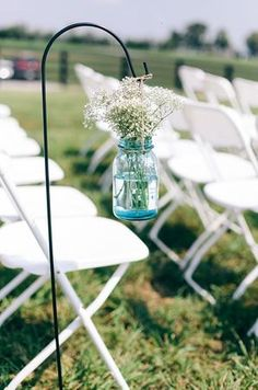 Mason jar aisle decor (Photo by Ulmer Studios)