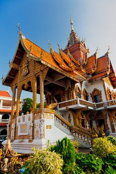The colorful Dhamma Hall, the centerpiece of the Wat Buppharam - Chiang Mai, Thailand