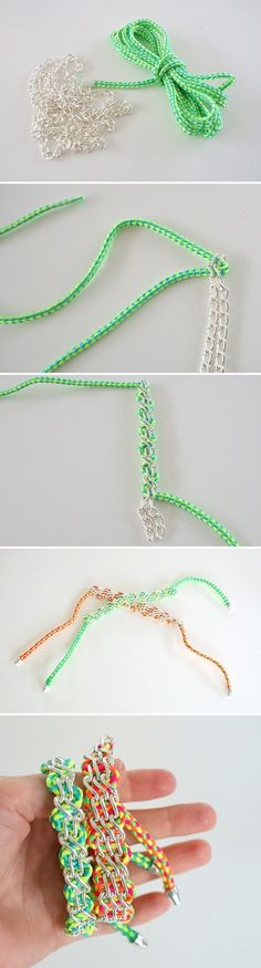 DIY Bracelet. Would be pretty with strands of seed beads maybe?
