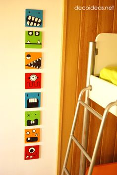 Using Wall Art to Scare Away Those Pesky Monsters Cute monster wall art - would be a fun way to deco Monster Room, Monster Art, Diy For Kids, Crafts For Kids, Cuadros Diy, Kids Decor, Decor Ideas, Kids Bedroom, Kids Rooms