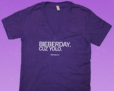 """This shirt answers the long asked question of """"Why Bieberday?""""  In case you needed a better reason to buy, how about this, the Jones don't have one yet.  Show off your great sense of style or your ability to be ironicially unhumiliated.  The choice is yours, now add to cart.  $9.49 at http://bieberday.com/Shop/"""