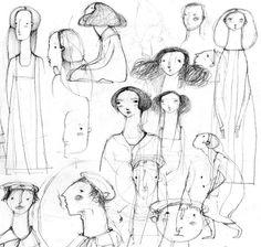 Leonor Perez.   Estudio de caras, poses y personajes  illustration / ilustración, ahora todo lo veo a modo de dibujo
