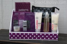 Jamberry Nails products on our White Display with Purple Insert and Purple Polka Dot Design! - from Stack Displays!