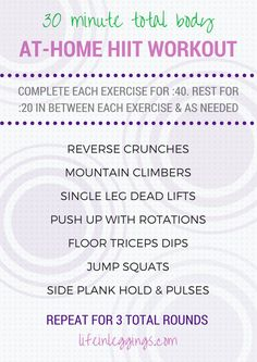 30 Minute (Total Body) At-Home HIIT Workout