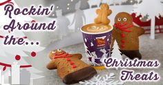Gingerbread latte and Gingerbread People Rockin' Around. Gingerbread Latte, Gingerbread Cookies, Brewing, Product Launch, People, Desserts, Christmas, Food, Gingerbread Cupcakes