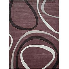 Hand-tufted Alexa Pino Collection Circles Brown Rug (76 x 96), $236.99 | www.findbuy.co/store/overstock-com #RugsUSA