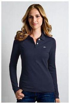 Camiseta Polo Manga Longa Feminina Lacoste mod7794 Lacoste Polo Shirts 24c44f90443