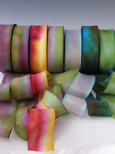 A Hanah Hand Dyed Silk Ribbon Collection, bias-cut 1 inch wide via Etsy.