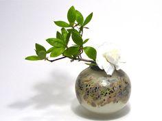 Miniature Ikebana Vase:  Hand-Blown Scavo Glass Vessels - Bamboo